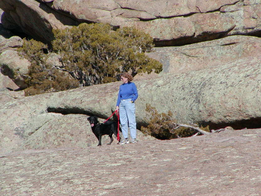 Picture of Wife and Dog at Split Rock.